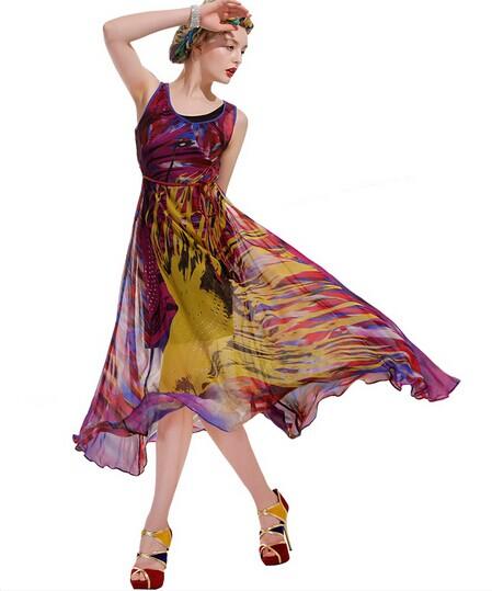 【鸿韵莱】2014广州新款真丝连衣裙批发,上货速度很重要,诚邀合作