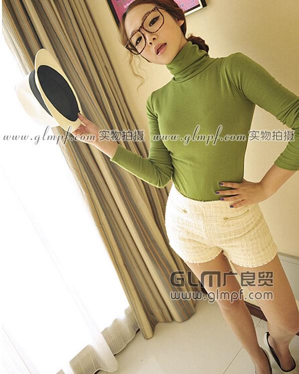 秋季韩版百搭高领螺纹棉打底衫批发