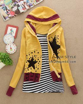秋冬季学生装开衫圆领两件套卫衣批发
