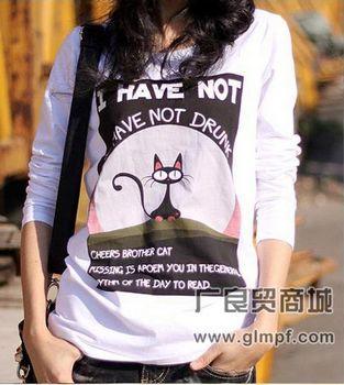 时尚全棉女装长袖T恤批发