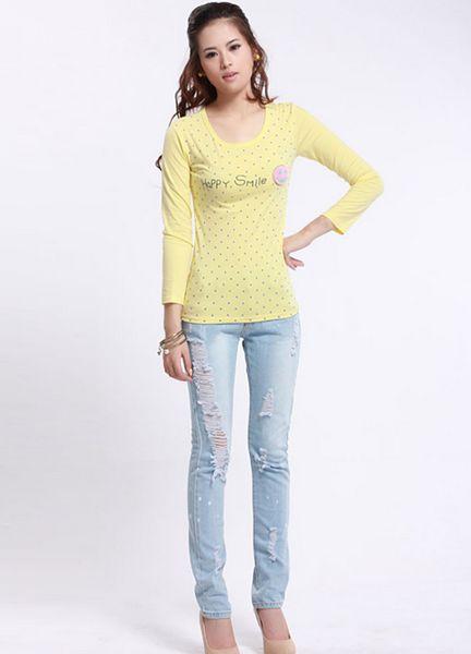 销量最大价格实惠的条纹打底衫牛仔裤批发