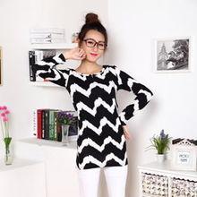 2014秋装新款韩版女装圆领趣味图案长袖毛衣低价批发