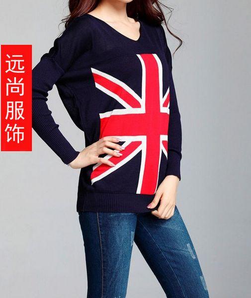韩版外套热销米字旗套头毛衣爆版打底衫批发