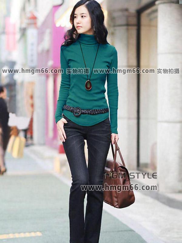 新款高领时尚圆领螺纹棉打底衫批发