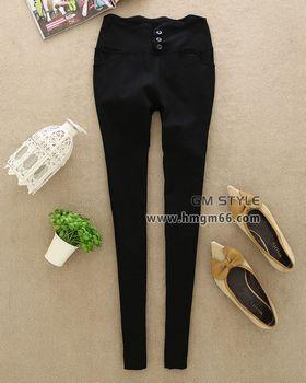 黑色系时尚高腰弹力小脚裤批发