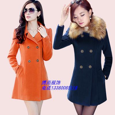 广州沙河低价女士羊妮毛领呢大衣外套批发