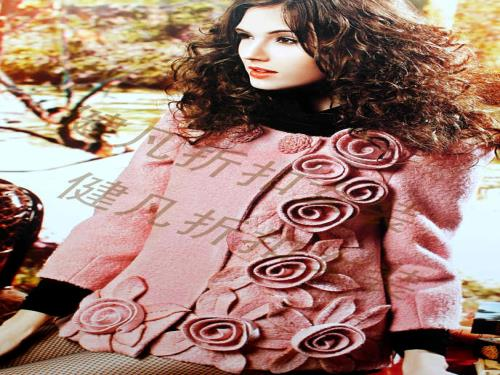 花卉图案休闲短款羊绒大衣批发