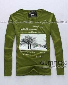韩版时尚男装印花T恤批发