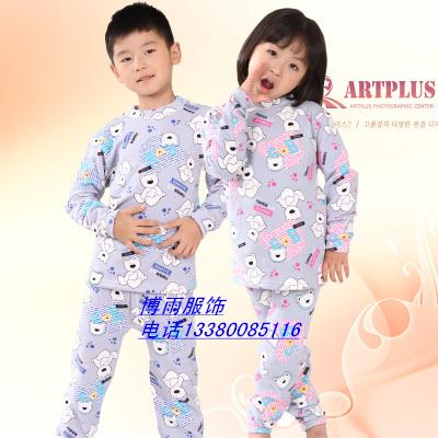 冬装童装加厚保暖内衣套装批发