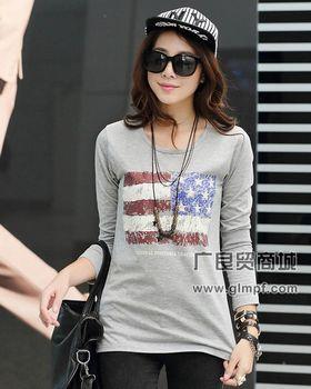 韩版女装长袖纯棉T恤批发