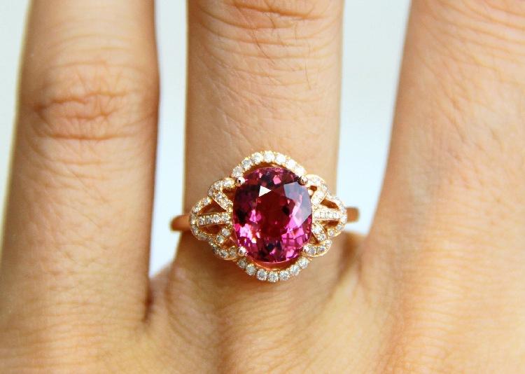 18K玫瑰金镶嵌2.87CT切面紫色碧玺戒指珠宝工厂钻戒批发