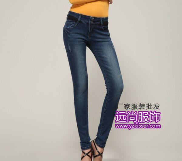 最便宜百搭韩版修身弹力牛仔裤批发