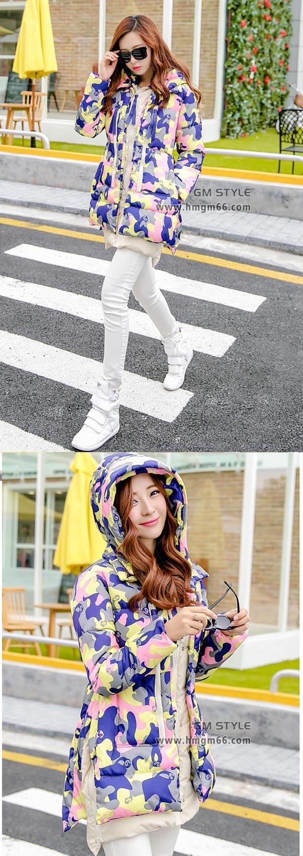 2014时尚新款冬装迷彩羽绒服批发