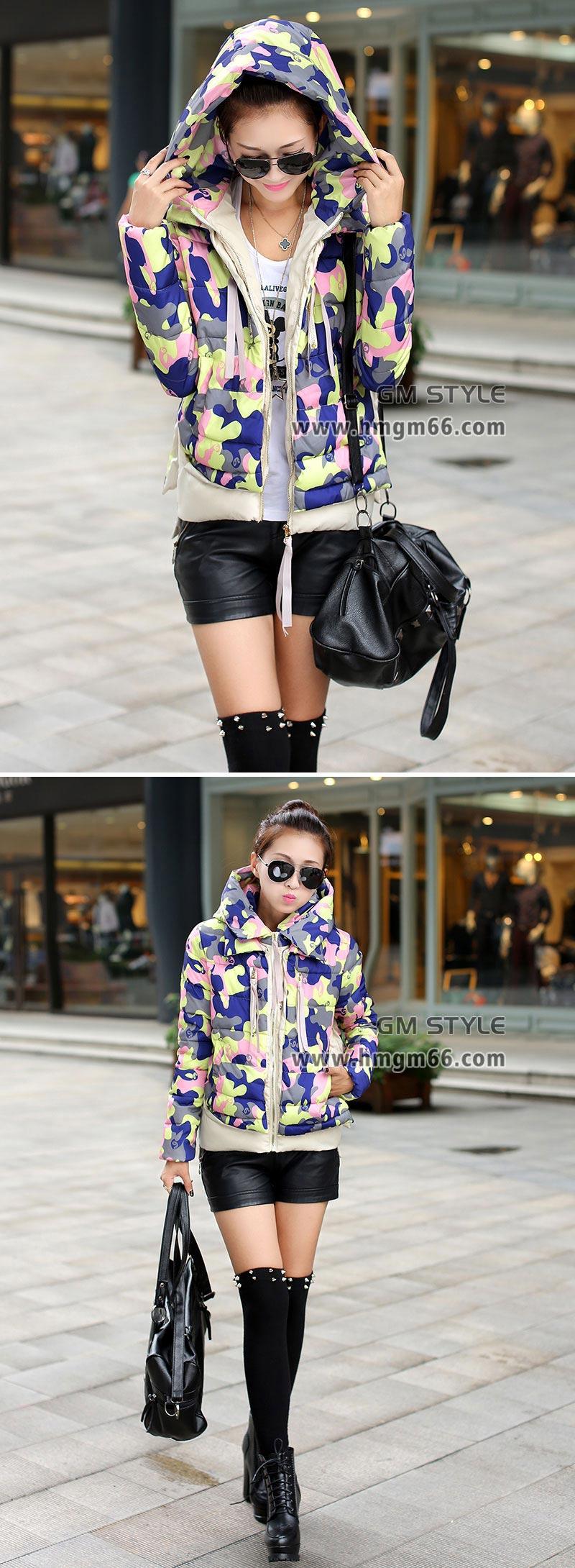 冬季短款时尚迷彩羽绒服批发