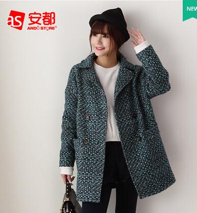 秋冬新款韩版中长款格子毛呢外套批发