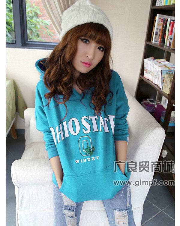 厂家直销批发韩版街头流行中长款女式印花卫衣绒衫
