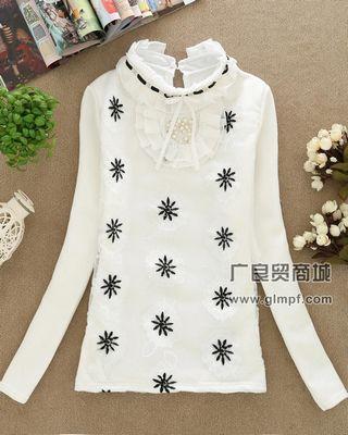 新款韩版时尚修身T恤白色绣花不倒绒打底女装批发