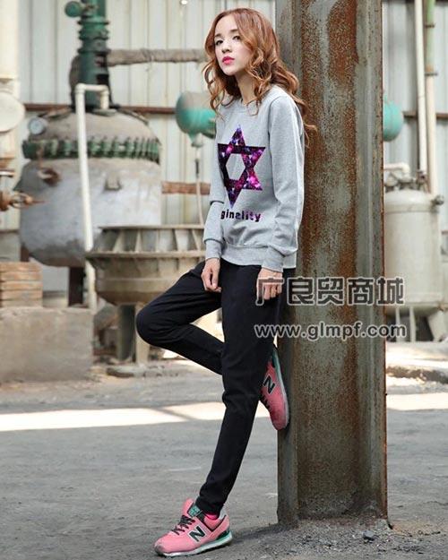 韩版女式圆领印花拉绒卫衣批发
