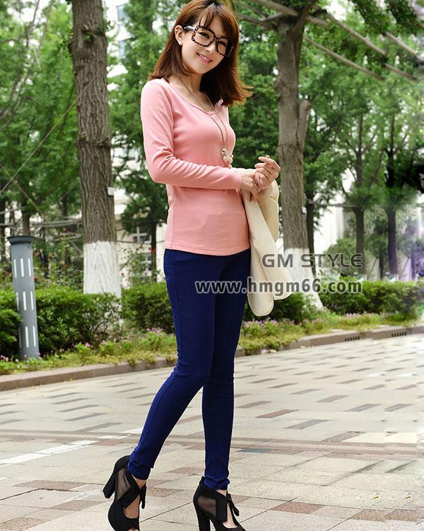 新款韩版秋装时尚印花圆领长袖女装T恤衫批发