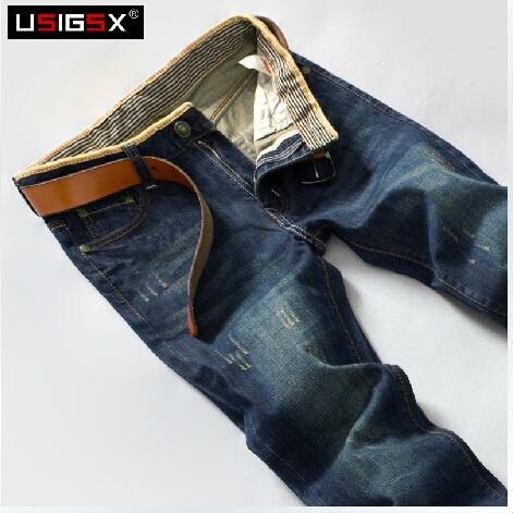 【USIGSX】秋季新款韩版修身休闲直筒男士牛仔裤