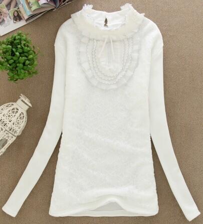 新款韩版时尚白色绣花不倒绒打底T恤批发