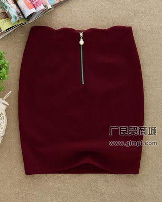 韩版新款时尚加厚呢子包裙中裙批发