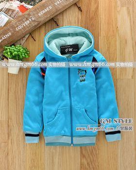 儿童冬装拉链开衫印花保暖外套批发市场