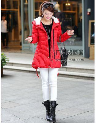2014冬季新款韩版休闲加厚修身中长款时尚羽绒服厂家直销批发