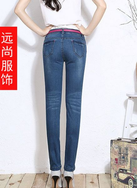 女式小脚铅笔裤韩版时尚潮款绣花抓纹牛仔裤批发