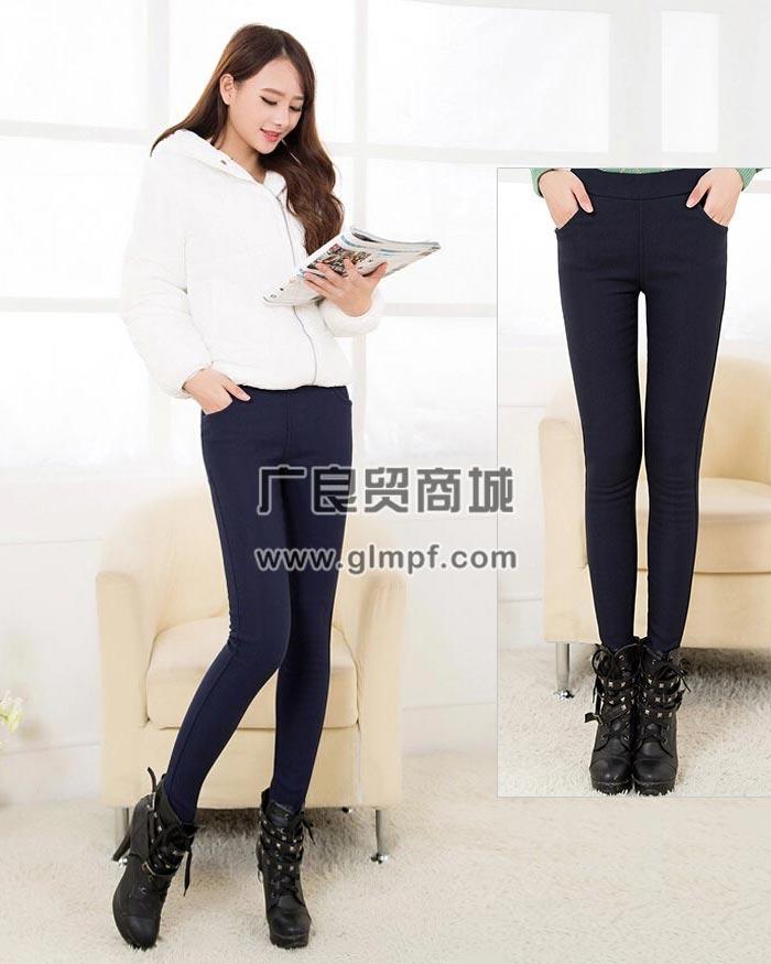 新款时尚修身瘦腿加厚保暖女长裤批发