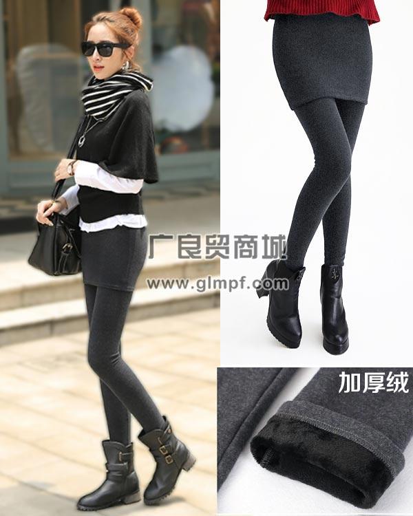女式时尚修身瘦腿加厚保暖长裤批发