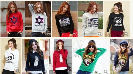街头流行 韩版女式中长款印花卫衣绒衫卫衣批发