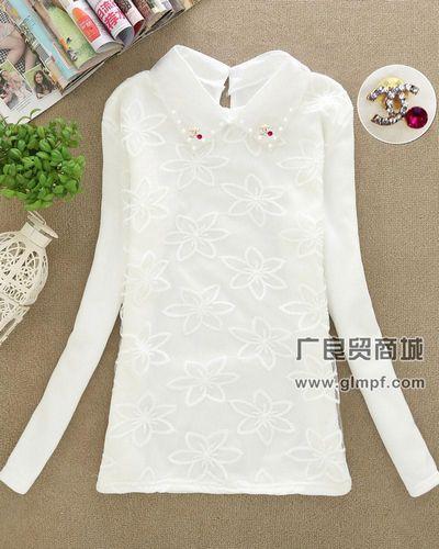 不倒绒新款白色绣花打底T恤韩版时尚修身打底衫批发
