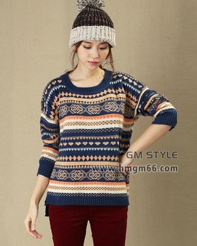 时尚女式韩版加厚新款套头打底毛衣批发