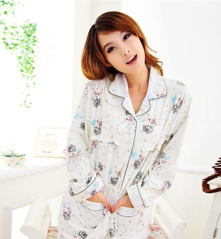 女士棉质翻领碎花睡衣家居服套装低价批发