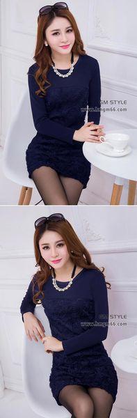 新款女装韩版修身不倒绒加厚中长款打底裙批发