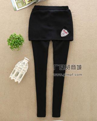 不倒绒打底包臀裤时尚韩版假两件保暖美腿裤批发