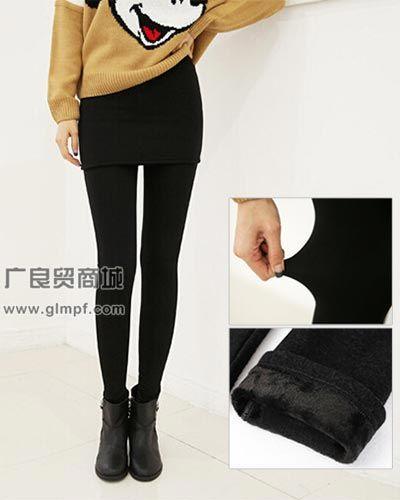 时尚韩版假两件不倒绒包臀裤批发