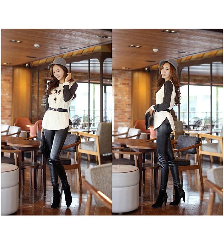 时尚冬装新款韩版圆领拼接长袖T恤批发