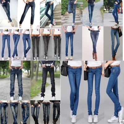 便宜韩版修身时尚女装牛仔长裤批发