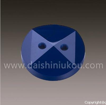 蓝色圆形斜面双线孔抛光高档纽扣批发