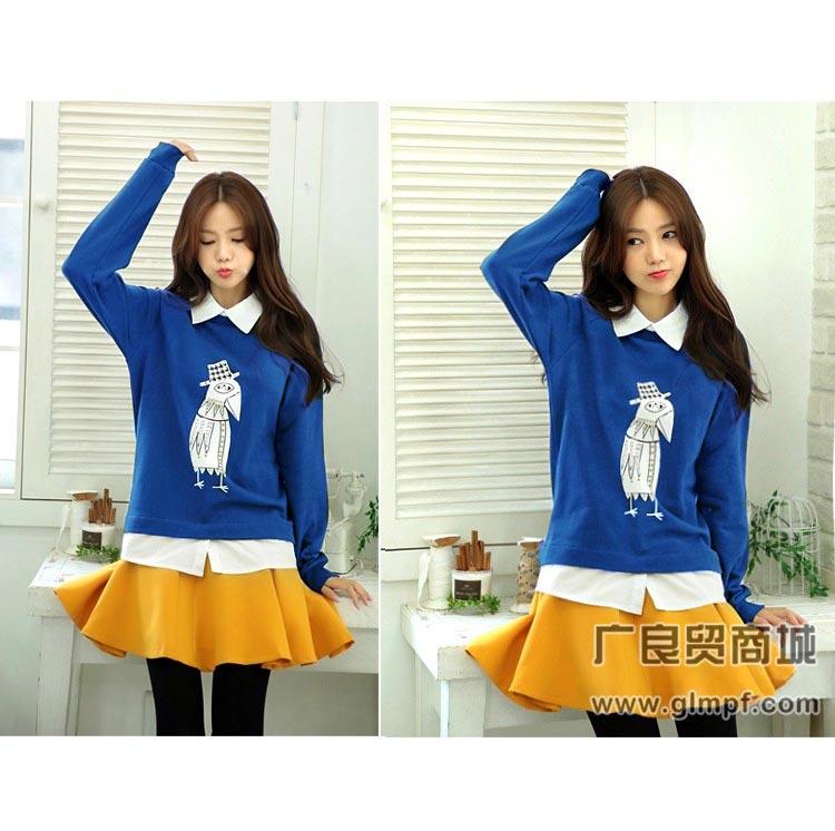 时尚韩版女式圆领卫衣冬季学生装圆领卫衣批发