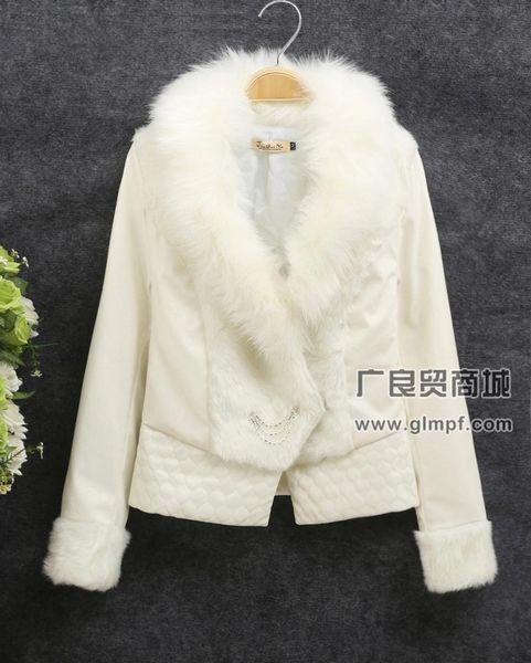 时尚日韩新款冬装毛领皮草皮衣批发