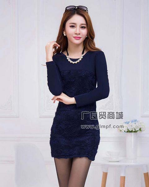 厂家直销2014冬季新款女装韩版修身不倒绒加厚中长款打底裙包臀打底上衣批发