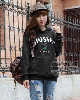 街头流行拉绒中长款印花韩版卫衣绒衫批发