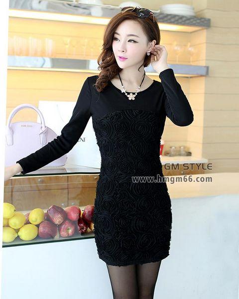 女装韩版修身不倒绒加厚中长款打底裙包臀打底上衣批发