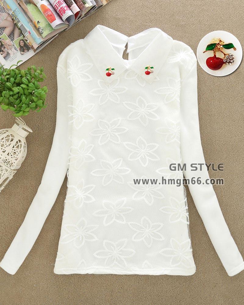 新款白色绣花不倒绒打底女装批发