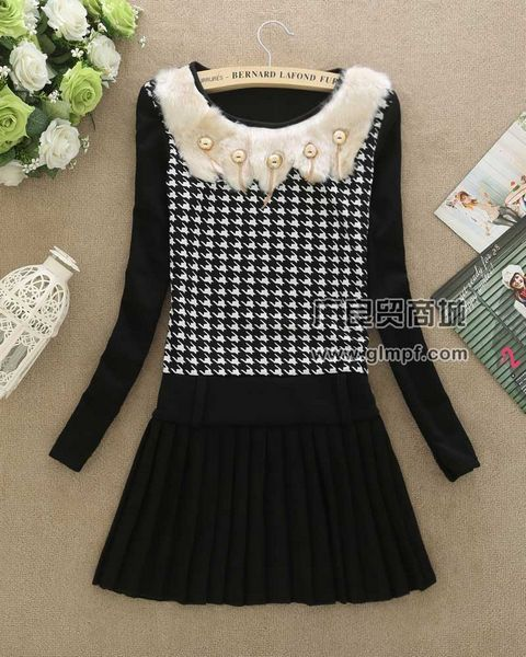 新款韩版修身加厚中长款女装打底裙批发