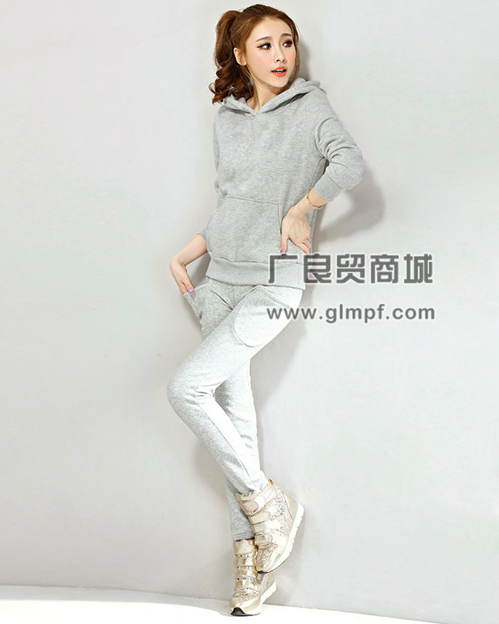 韩版女士拉绒连帽卫衣批发