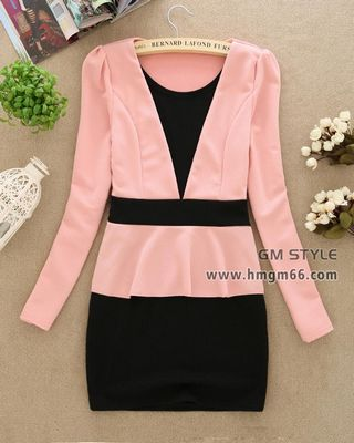 时尚淑女裙装修身办公室美女喜欢穿的连衣裙批发
